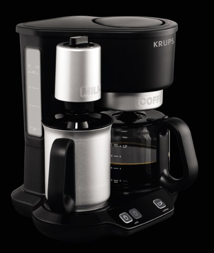KRUPS KM310850 Latteccino 2-in-1 Coffee Maker Machine with Professional Milk Frother, 8-Cup ...