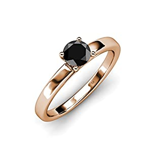 Black Diamond Solitaire Ring 0.95 ct in 14K Rose Gold.size 9