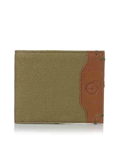 Maker & Company Men's Colored Canvas & Leather Bifold Wallet, Olive