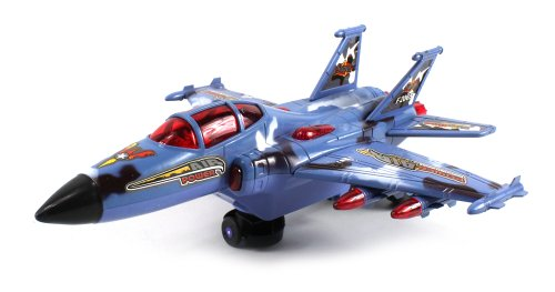 Air Force X Fighter Jet Battery Operated Bump and Go Toy Plane w/ Flashing Lights, Sounds by Velocity Toys