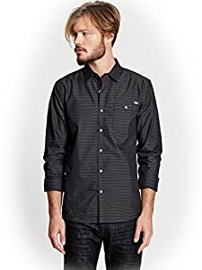 G by GUESS Men's Kerwin Striped Shirt, JET BLACK (MEDIUM)