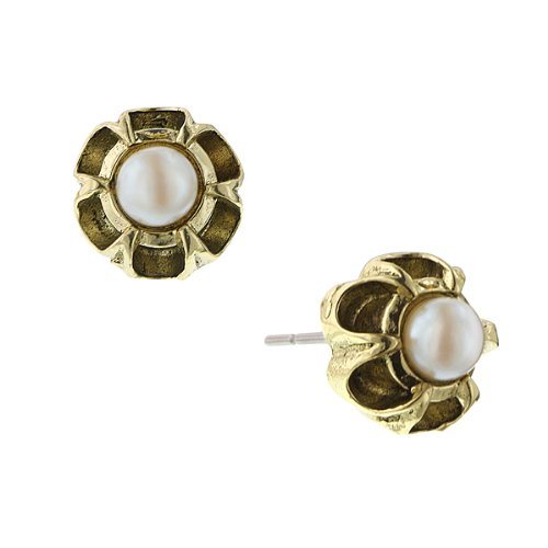 Bellissimo Flower Brass Tone Pearl Stud Earrings
