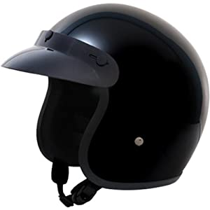 Daytona Basic/Custom D.O.T. Approved 3/4 Shell Cruiser Motorcycle Helmet - Hi-Gloss Black / 2X-Large