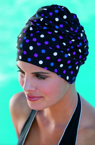 Ladies Swimming Hat by Fashy Turban Style Black With Spots Spotty Fun