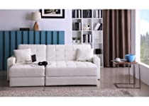 Hot Sale Soho Modern Contemporary White Faux Leather Sectional Sofa Bed with Storage Ottoman