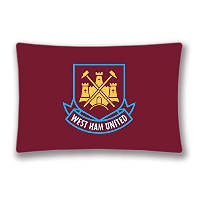 EPL Logo Printed Rectangle Pillow Cover West Ham United Zippered Pillowcase Soccer Themed -20x30 inches Two Sides Pattern