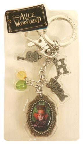 Disney Pewter Key Ring - Charms - Mad Hatter, Scissors, Hat, 10/6, Teacup, Spool, Logo and Beads - 1