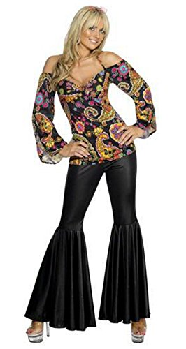 Women's 70s Festival Hippie Costume with Flared Trousers, Size 16 to 18