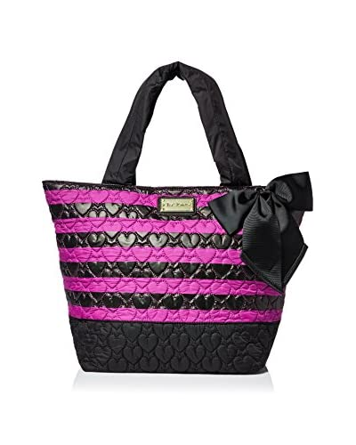 Betsey Johnson Women's Tie The Knot Cire Nylon Tote, Pink Stripe