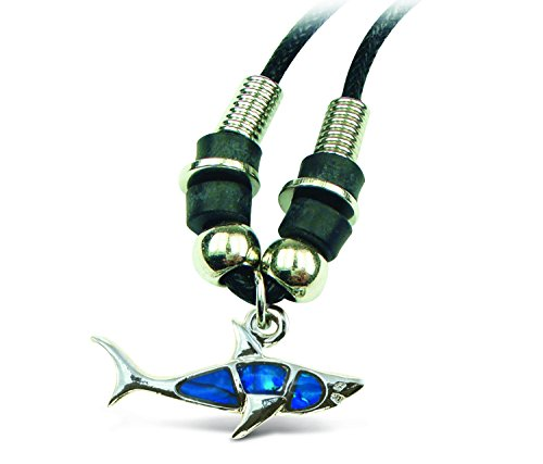 "Puzzled Aqua Shark Wild Style Necklace, 18"" - 1"