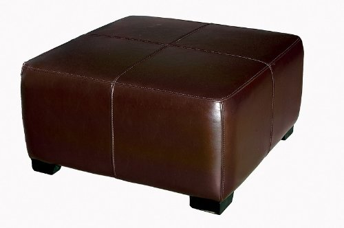 Full Leather Square Cocktail Ottoman, Dark Brown