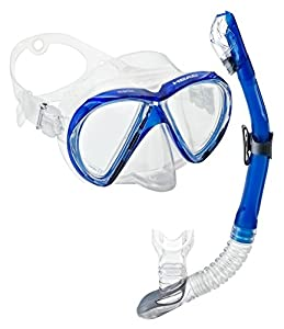 Head by Mares Marlin Mask Dry Snorkel Set, Blue