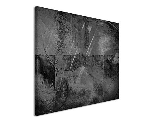50x70cm Leinwandbild schwarz weiß in Topqualität Abstrakt mit Wasserfarben
