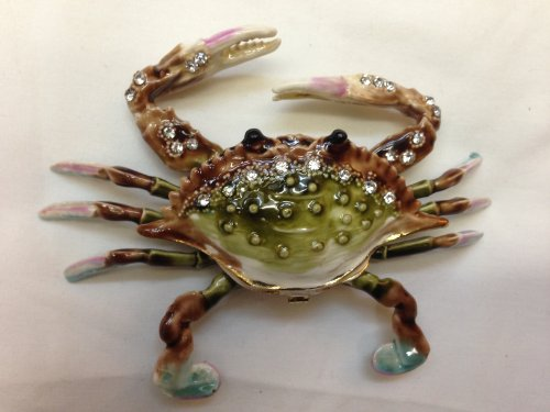 Gorgeous Crab Enameled Jeweled Box with Inlaid Crystal Trinket Box, Pill Box Figurine