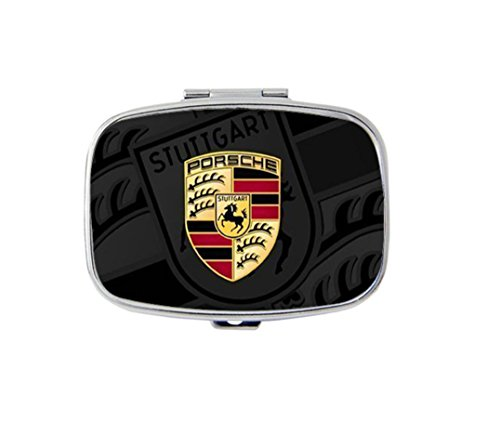 Porsche Logo Custom Fashion Style Stainless Steel Rectangle Pill Box Pill Case Vitamins Organizer or Jewelry Box,Coin Purse