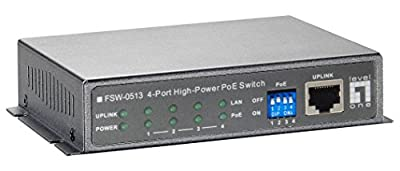 LevelOne FSW-0513 4-Port High Power PoE w1-Port 10/100 Wall Mountable Switch (Power adapter included)