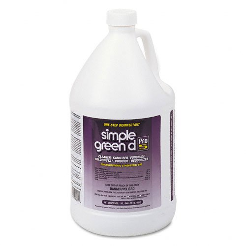 simple green Products - simple green - Pro 5 One Step Disinfectant, 1 gal. Bottle - Sold As 1 Each - All-in-one disinfectant, sanitizer and cleaner is highly effective against HIV-1 (AIDS virus), hepatitis B and C, MRSA, avian influenza (bird flu), athlete's foot fungus, Influenza A and many gram-positive and gram-negative bacteria. - Prevents growth of mold and mildew. - Virucidal, fungicidal and mildewstat. - Suitable for use in hospitals and food processing facilities. - No added color o