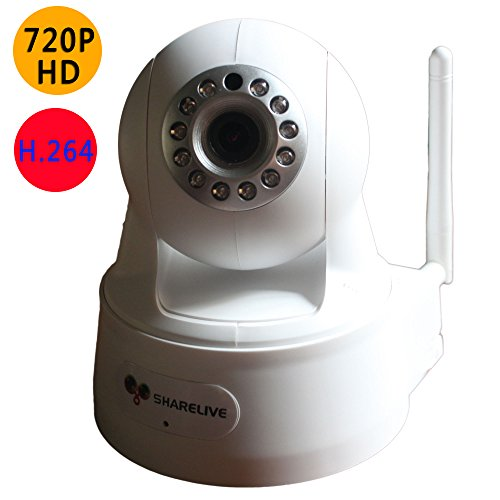 Sharelive Ip Camera 1.0 Mega-Pixel Wifi Camera Wireless Video Monitoring Camera V2 Megapixel Hd 1280 X 720P H.264 Wireless/Wired Horizontal And Vertical Flip Ip Camera With Ir-Cut Filter - 26Ft Night Vision And 3.6Mm Lens front-272878