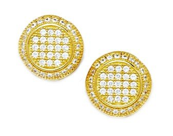 14ct Yellow Gold CZ Large Round Micropave Earrings - Measures 11x11mm