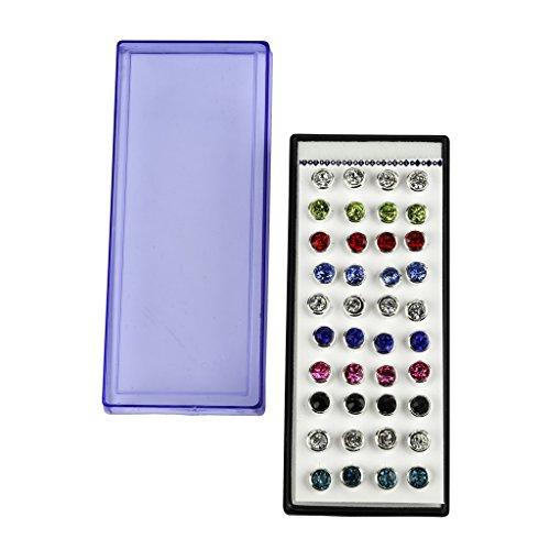 Lux accessori Med argento Multi Color Cristallo Stud multiple Orecchini Set Regalo