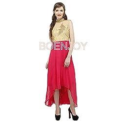 Boenjoy Women's Stitched Pink Asymmetrical Georgette Dress (Size 44)