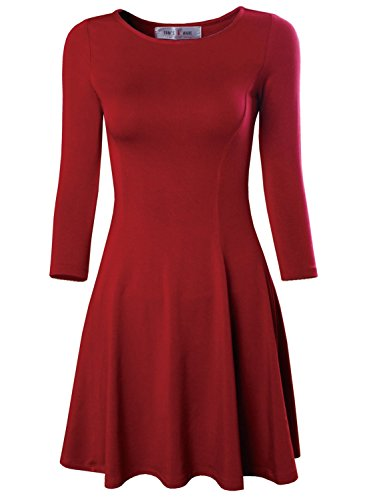 Tom's Ware Women's Casual Slim Fit and Flare Round Neckline Dress TWCWD052-RED-US L/XL