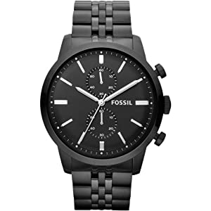 Fossil Men's Townsman FS4787 Black Stainless-Steel Quartz Watch with Black Dial
