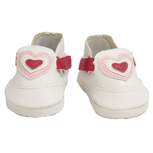 BUYS BY BELLA White Heart Shoes for 18 Inch Dolls Like American Girl