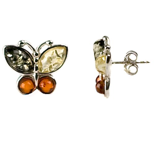 Multicolor Amber and Sterling Silver Butterfly Earrings