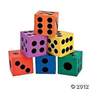 6 Pc Playing Dice Game Night or Multi Colored Math Manipulatives - 1