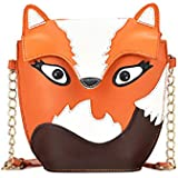 HuntGold 1X Women Cartoon Fox Design PU Leather Handbag Shoulder Bag Messenger Bag