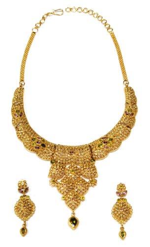 ZevarWale elegant & beautiful gold foam set with earrings (yellow)