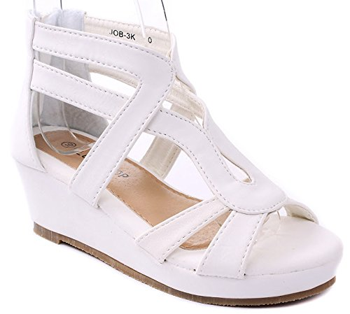 Jjf Shoes Job Kids White Strappy Roman Gladiator Nubuck Pu Comfort Dress Platform Wedge Sandals-2
