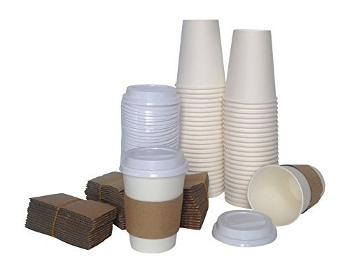 Disposable Coffee Cups Paper Cups with Lids and Sleeves 12 oz Pack of 50. Perfect On the Go Cup that is Great for Any Hot and Cold Drink