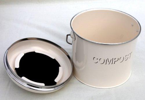 Cream enamel compost tin - Shabby chic vintage style