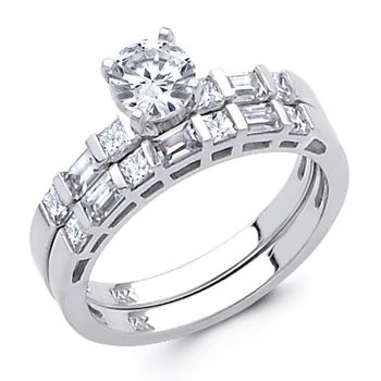 14K White Gold Round-cut CZ Cubic Ziconia Ladies Engagement Ring and Wedding Band 2 Two Pieces Set - Size 4
