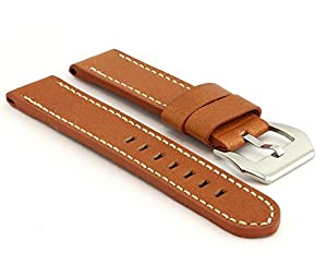 StrapsCo Thick Tan Leather with White Stitching 22mm Watch Strap