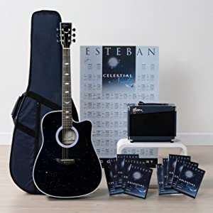 esteban celestial night acoustic electric guitar package w amp 10 dvds and. Black Bedroom Furniture Sets. Home Design Ideas