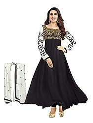 RR FASHION WOMENS GEORGETTE ANARKALI DRESS MATERIAL(A5008_BLACK)