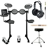 Yamaha DTX400K 10 Customizable Drum Kits Electronic Drum Set with Drum Throne, Vic Firth 5A Drumsticks and Stereo Headphones
