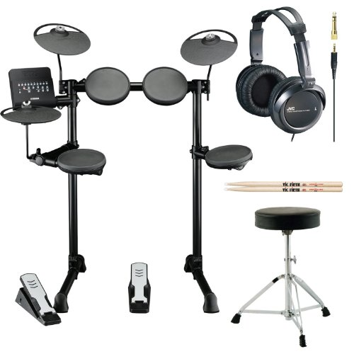 Yamaha Dtx Series Dtx400K 10-Inch Electronic Drum Set With Double-Braced Drum Throne, Vic Firth 5A Drumsticks And Full Size Stereo Headphones