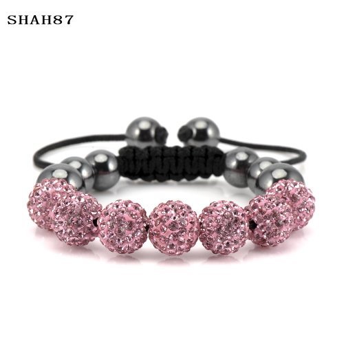 Pink Colour Crystal Baby Shamballa Disco Ball Friendship Bracelet 8mm For Childrens, Toddlers, Kids Girls Age 1-5yr