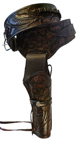 Western Cowboy Gun Belt Holster Rig - High Quality Real Leather Holster - Great Gift (Guns With Real Bullets compare prices)
