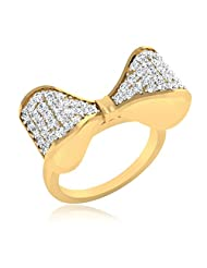 IskiUski Bow Twist 925 Sterling Silver 14kt Gold Plated Round Cubic Zirconia Ring For Women