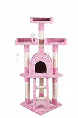 D2B NEW Cat Tree Scratching Post Scratch Activity Centre Bed Toys Scratcher (Pink)