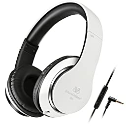 Ailihen Detachable Cable Over Ear Universal Headphones with Microphone and Volume Control - Black / White