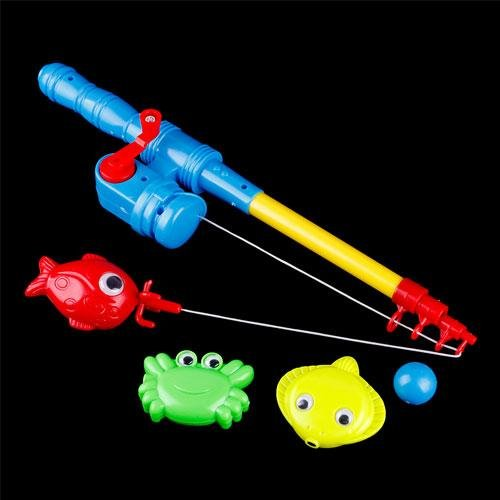 Hot Funny Magnetic Fishing Game Toy 1 Rod 4 Fish Kids Children Bath Time Fun