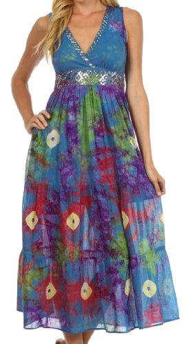 Sakkas 9508 West Indies Empire Waist Dress - Blue - Large