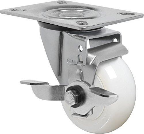 "Schioppa L12 Series, Gl 312 Nte Sl, 3 X 1-1/4"" Swivel Caster With Wheel Lock Brake, Non-Marking Nylon Precision Ball Bearing Wheel, 325 Lbs, Plate 3-1/8 X 4-1/8"" (Bolt Holes 3-1/8 X 2-1/4"") front-400656"