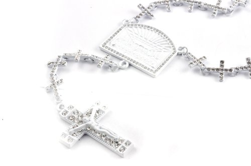 New! Iced Out Cross Linked Chain Rosary w/ The Last Supper & Paves Cross WHITE
